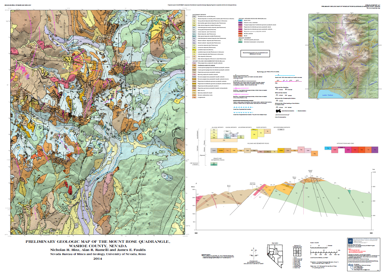 New Geologic Map Mount Rose Quadrangle With Shaded Relief NBMG - Map of reno and lake tahoe